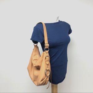 Banana Republic pebbled leather hobo purse bag tan